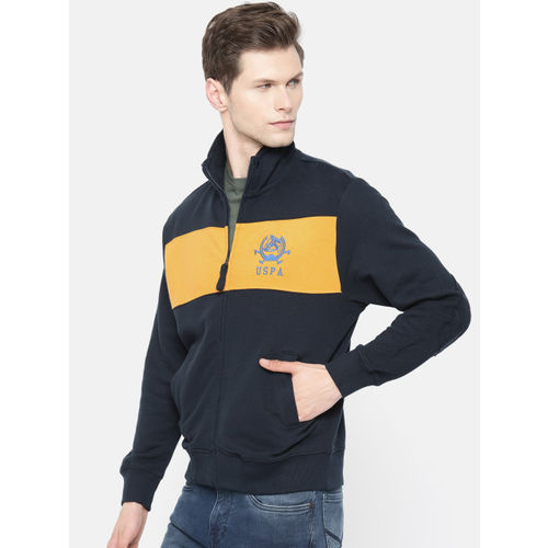 U.S. Polo Assn. Denim Co. Men Navy Blue & Yellow Colourblocked Sweatshirt