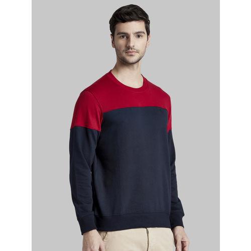 Parx Men Navy Blue & Red Colourblocked Sweatshirt
