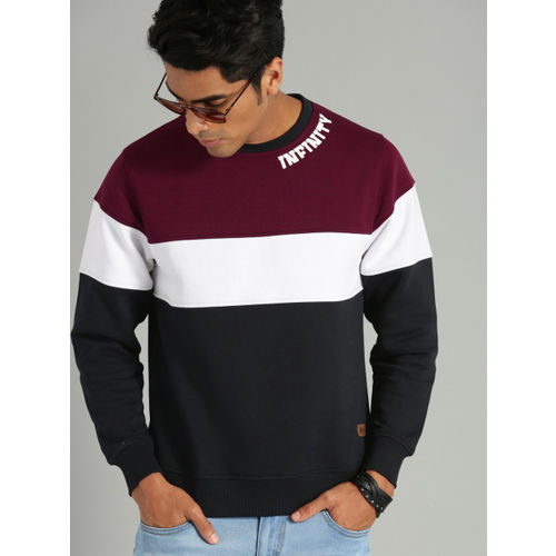 Roadster Men Navy Blue & Burgundy Colourblocked Sweatshirt