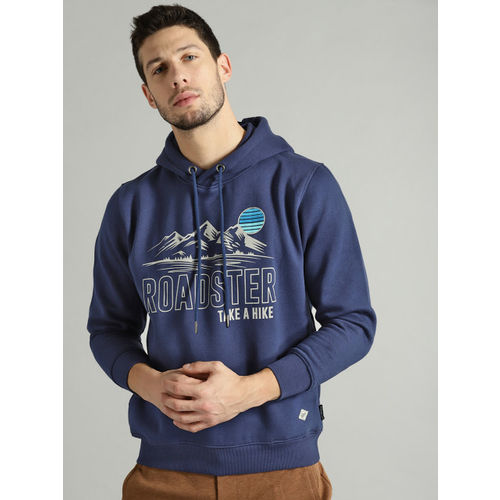 Roadster Men Navy Blue & Off-White Printed Hooded Sweatshirt