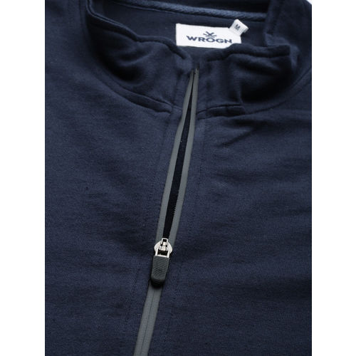 WROGN Men Navy Blue Solid Sweatshirt