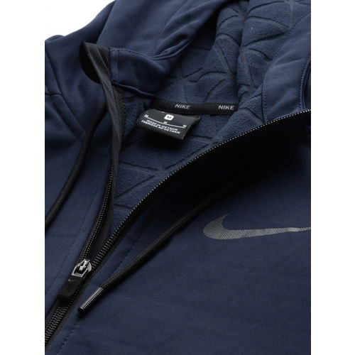 Nike Men Navy Blue NK THRMA Water Repellent Solid Hooded Training Sweatshirt