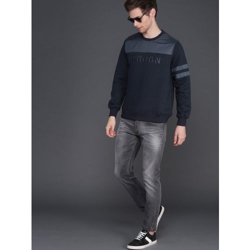 WROGN Men Navy Blue Slim Fit Printed Pullover Sweatshirt