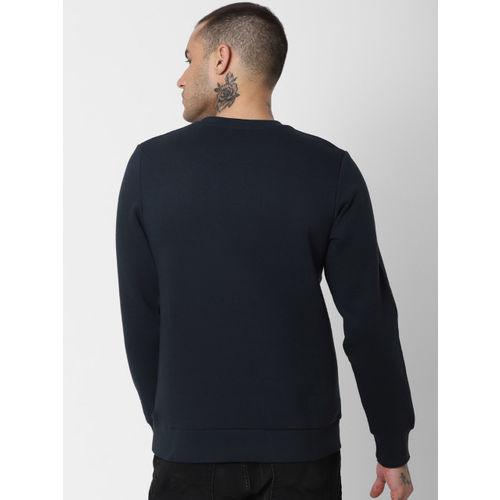 Jack & Jones Men Navy Blue & Green Colourblocked Sweatshirt