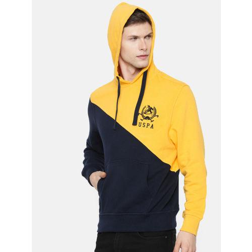 U.S. Polo Assn. Denim Co. Men Navy Blue & Mustard Yellow Colourblocked Hooded Sweatshirt