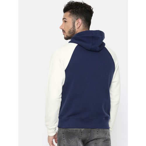 U.S. Polo Assn. Denim Co. Men Navy Blue & White Solid Hooded Sweatshirt