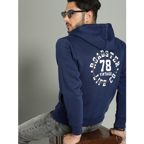 Roadster Men Navy Blue Printed Hooded Sweatshirt
