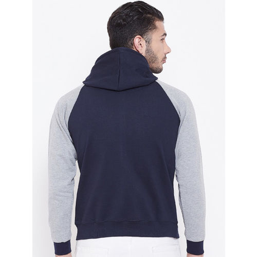 PORTBLAIR Men Navy Blue & Grey Solid Hooded Pullover Sweatshirt