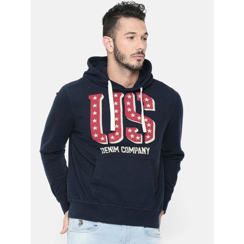U.S. Polo Assn. Denim Co. Men Navy Blue Printed Hooded Sweatshirt