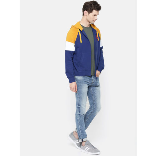 U.S. Polo Assn. Denim Co. Men Navy Blue & Yellow Solid Hooded Sweatshirt