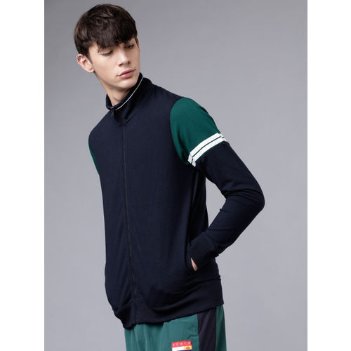 HIGHLANDER Men Navy Blue & Green Colourblocked Sweatshirt