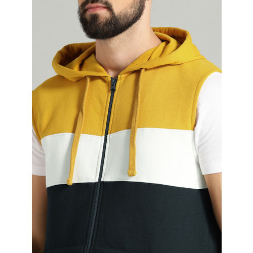 Roadster Men Navy Blue & Mustard Yellow Colourblocked Hooded Sweatshirt