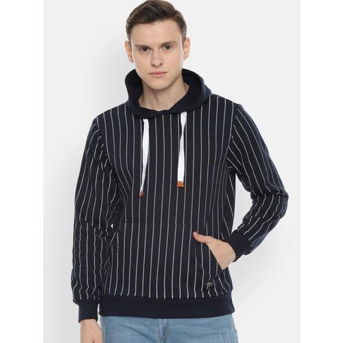 People Men Navy Blue & White Striped Hooded Sweatshirt