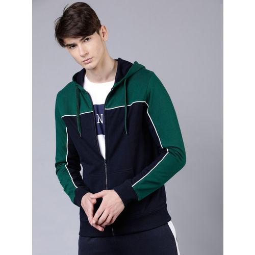 HIGHLANDER Men Navy Blue & Green Colourblocked Hooded Sweatshirt