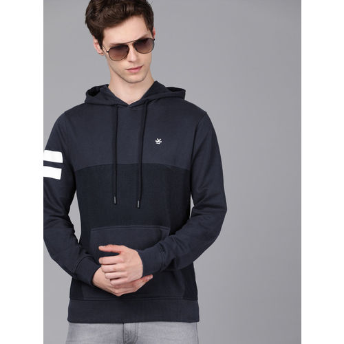 WROGN Men Navy Blue Solid Hooded Slim Fit Sweatshirt