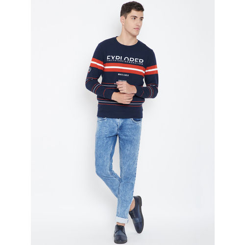 Monte Carlo Men Navy Blue & Orange Striped Sweatshirt