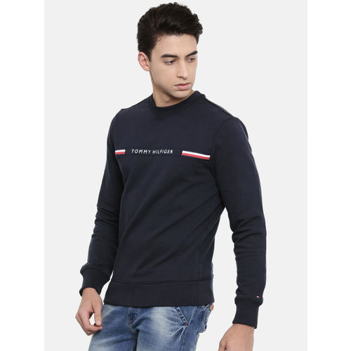Tommy Hilfiger Men Navy Blue Embroidered Sweatshirt