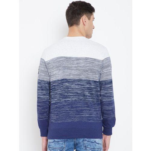 Monte Carlo Men Navy Blue & Off-White Printed Sweatshirt