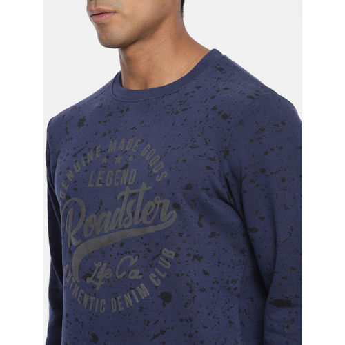 Roadster Men Navy Printed Sweatshirt