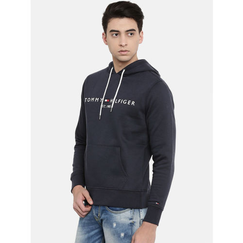 Tommy Hilfiger Men Navy Blue Embroidered Hooded Sweatshirt
