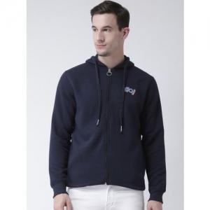 Club York Men Navy Blue Solid Hooded Sweatshirt