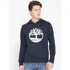 Timberland Men Navy Blue Printed Hooded Sweatshirt