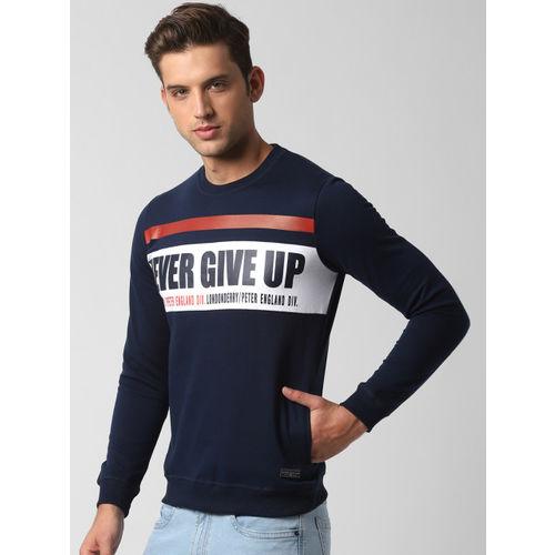 Peter England Casuals Men Navy Blue Printed Sweatshirt