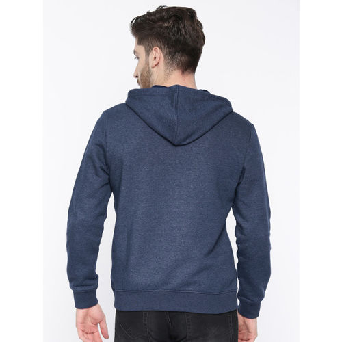 Wrangler Men Navy Blue Solid Hooded Sweatshirt