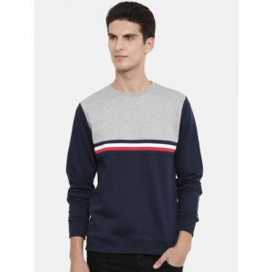 Tommy Hilfiger Men Navy Blue & Grey Melange Colourblocked Pullover Sweatshirt