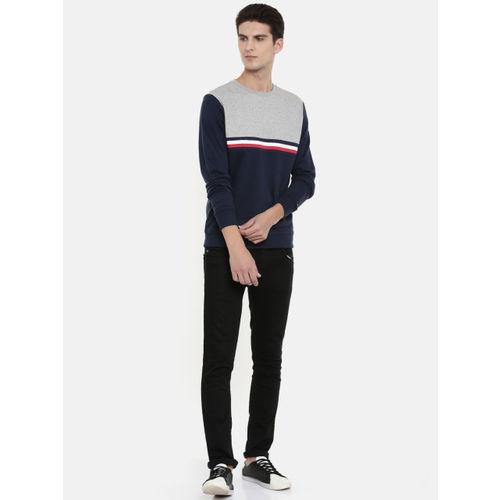Tommy Hilfiger Men Navy Blue & Grey Melange Colourblocked Pullover Sweatshirt