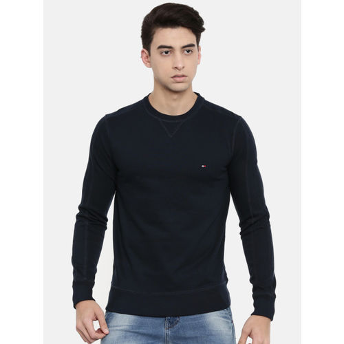 Tommy Hilfiger Men Navy Blue Solid Sweatshirt