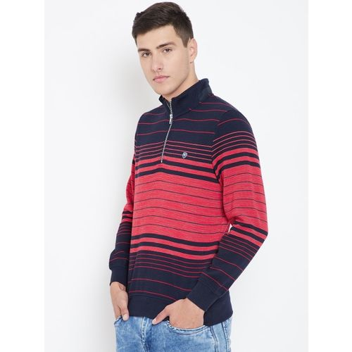 Monte Carlo Men Navy Blue & Red Striped Sweatshirt