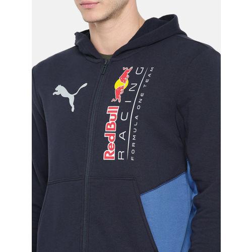 Puma Men Black Printed RBR Logo Hooded Front-Open Sweatshirt