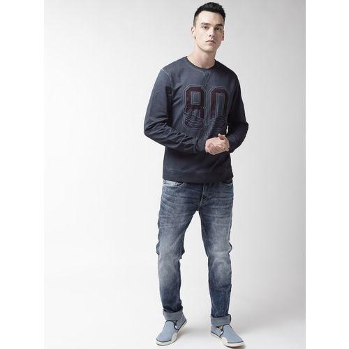 Flying Machine Men Navy Blue & Maroon Printed Sweatshirt