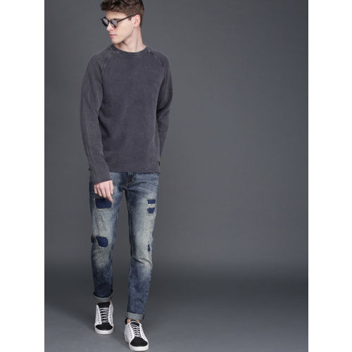 WROGN Men Navy Self Design Slim Fit Sweatshirt