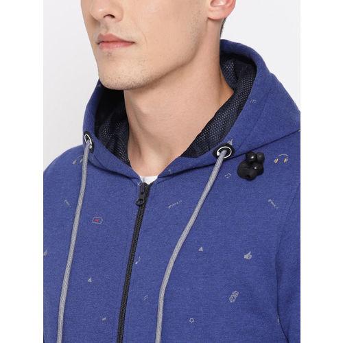 Monte Carlo Men Navy Blue & Grey Printed Hooded Sweatshirt With MP3 Player