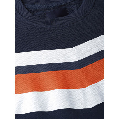 Mast & Harbour Men Navy Blue & White Solid Sweatshirt