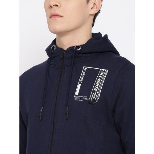 Fort Collins Men Navy Blue Solid Hooded Sweatshirt