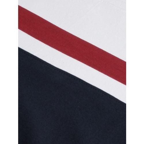WROGN Men Navy Blue & White Colourblocked Slim Fit Sweatshirt
