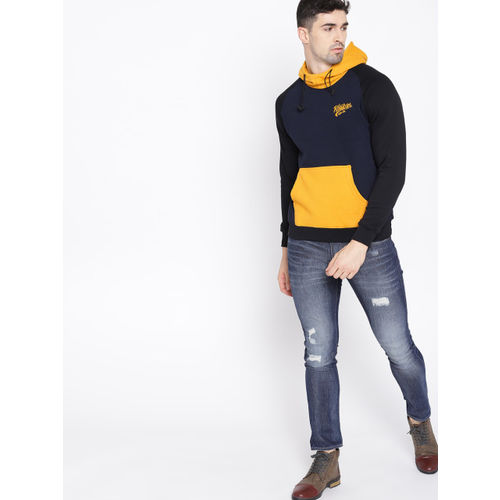 Roadster Men Navy Blue & Mustard Yellow Solid Hooded Sweatshirt