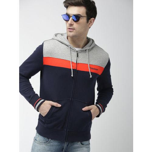Denizen From Levis Men Navy Blue & Grey Colourblocked Hooded Sweatshirt