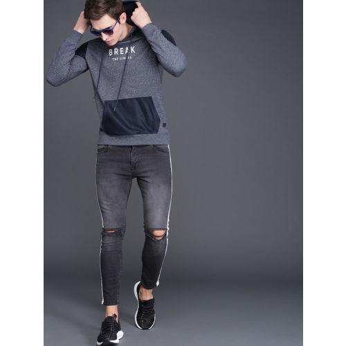 WROGN Men Navy blue Printed Hooded Slim Fit Sweatshirt