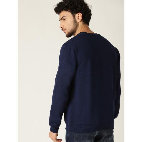 Allen Solly Men Navy Blue Solid Sweatshirt