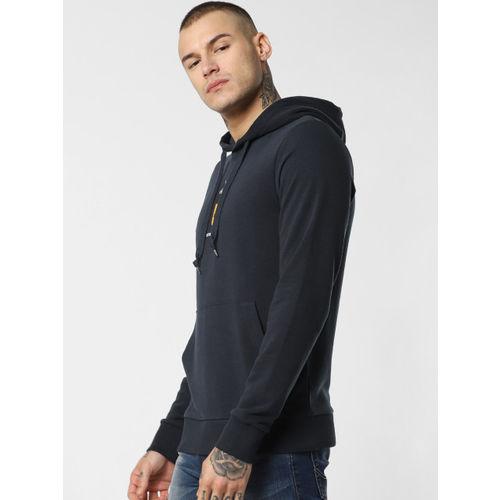 Jack & Jones Men Navy Blue Solid Hooded Pullover Sweatshirt