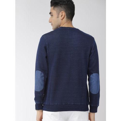 Indian Terrain Men Navy Blue Solid Sweatshirt