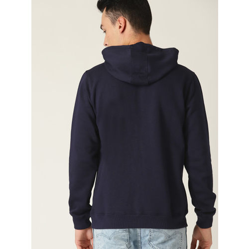 Allen Solly Men Navy Blue Solid Hooded Sweatshirt