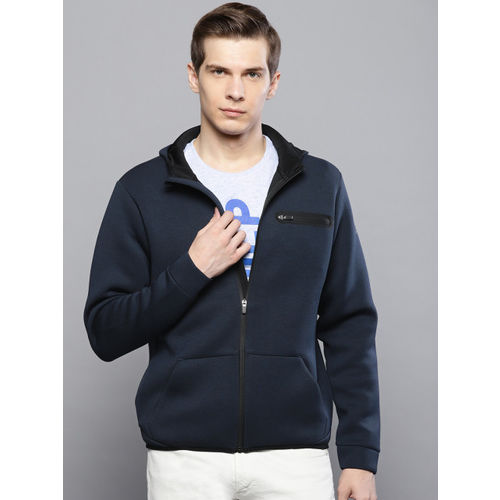 Louis Philippe Ath.Work Men Navy Blue Solid Hooded Sweatshirt