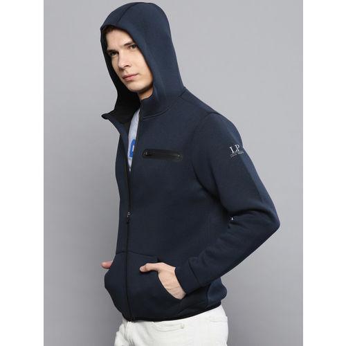 Louis Philippe Ath.Work Men Navy Blue Solid Hooded Sweatshirt