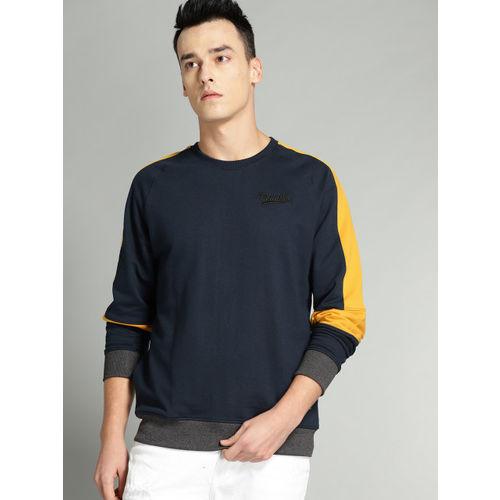 Roadster Men Navy Blue Solid Sweatshirt