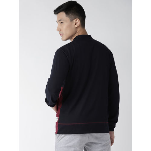 Hubberholme Men Navy Blue & Maroon Colourblocked Sweatshirt